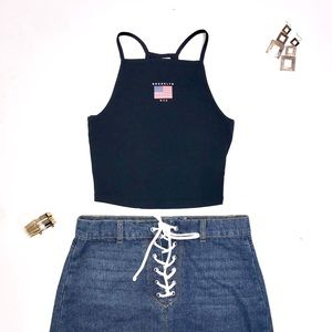 Brooklyn NYC Navy Blue Divided H&M Crop Top